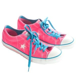 Converse Women's Size 9 Hot Pink & Aqua Star Shoes